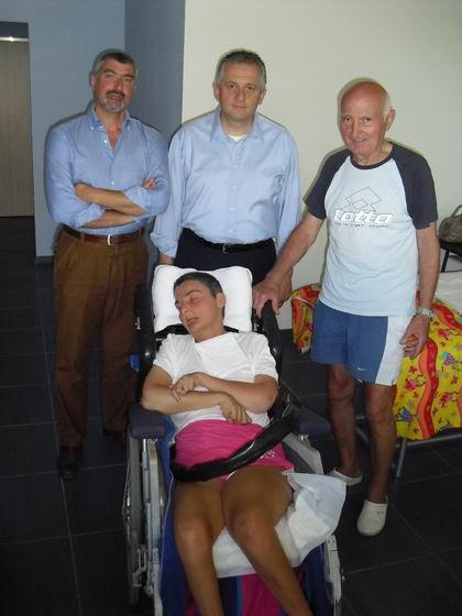 In casa a Marinella di Sarzana, La Spezia. 12 agosto 2010: Il Sindaco di Monzuno Marco Mastacchi, Paolo Cupido, Romano Magrini e Cristina.