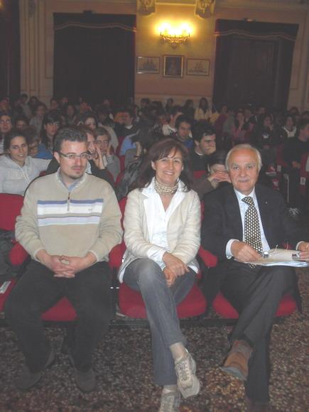 15 aprile 2011 Collegio San Luigi. Da sinistra Ermanno Pavesi, Antonella Lobietti Verlicchi, Gianluigi Poggi.