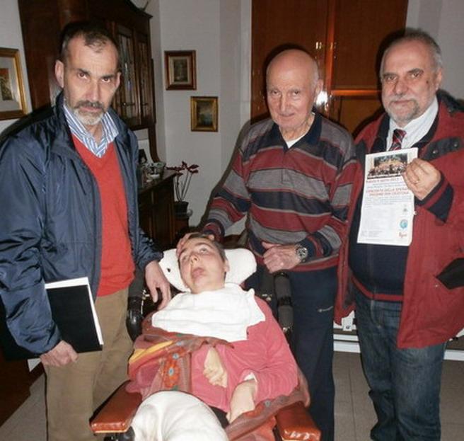 23 marzo 2013 Bologna - Incontro di Romano e Cristina Magrini con Andrea Pizzoli e il Presidente della Corale Jacopo da Bologna, Fiorenzo Mattioli.