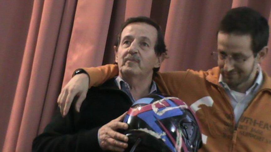 20131011 Villa Pallavicini, Bologna. Workshop ''CON NOI E DOPO DI NOI''. Stefano Pelliccioli e suo figlio Samuel rimasto in coma a causa di un incidente stradale e ripresosi dopo molti anni dopo una lunga riabilitazione.