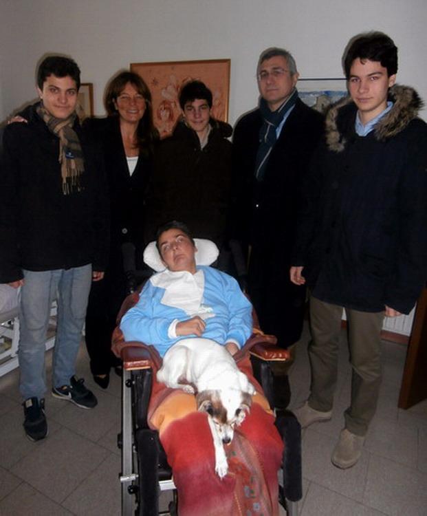 Natale 2013 Villa Pallavicini - Bologna. La famiglia di Silvia Cocchi, consigliera e fondatrice dell' associazione ''Insieme per Cristina'' con Cristina