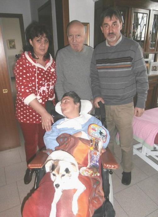 Natale 2013 Villa Pallavicini - Bologna. Cristina Magrini, babbo Romano con il nipote Patrizio e la moglie
